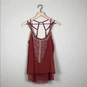 NWT Miss Me Embellished Flowy Tank Top (Size M)